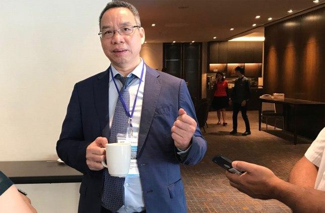 Ông Đào Trọng Khoa - phó chủ tịch VLA chia sẻ với báo giới bên lề diễn đàn Phát triển nguồn nhân lực cho ngành logistics và xu hướng tại Việt Nam ngày 16.5
